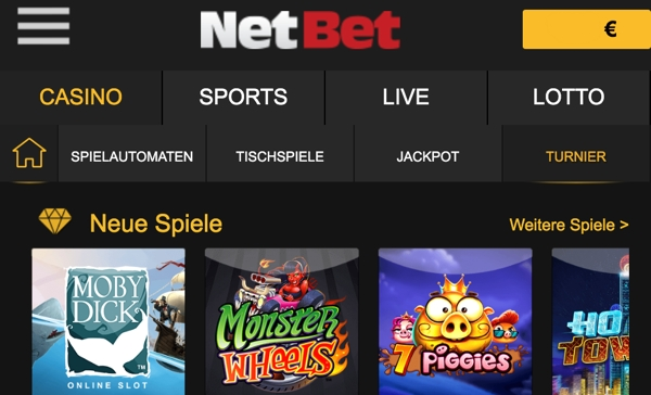 NetBet Casino für Handy & Tablet